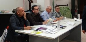 Da sinistra Angelo Monterrosso (pittore), Lorenzo Spurio (scrittore e critico letterario), Elvio Angeletti (poeta) e Francesco Capricci (lettore)