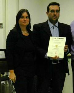 Michela Zanarella e Lorenzo Spurio durante la Cerimonia di premiazione del 3° Premio Nazionale di Poesia