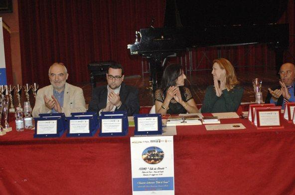 La commissione di Giuria: da sinistra Marco Rotunno, Lorenzo Spurio (Presidente di Giuria), Susanna Polimanti (Presidente del Premio), Cinzia Franceschelli e Fabiano De Papa