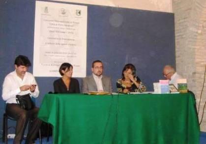 La Commissione di Giuria: da sinistra Marco Piglacampo (segretario), Lella De Marchi, Lorenzo Spurio (Presidente), Susanna Polimanti ed Elvio Angeletti.