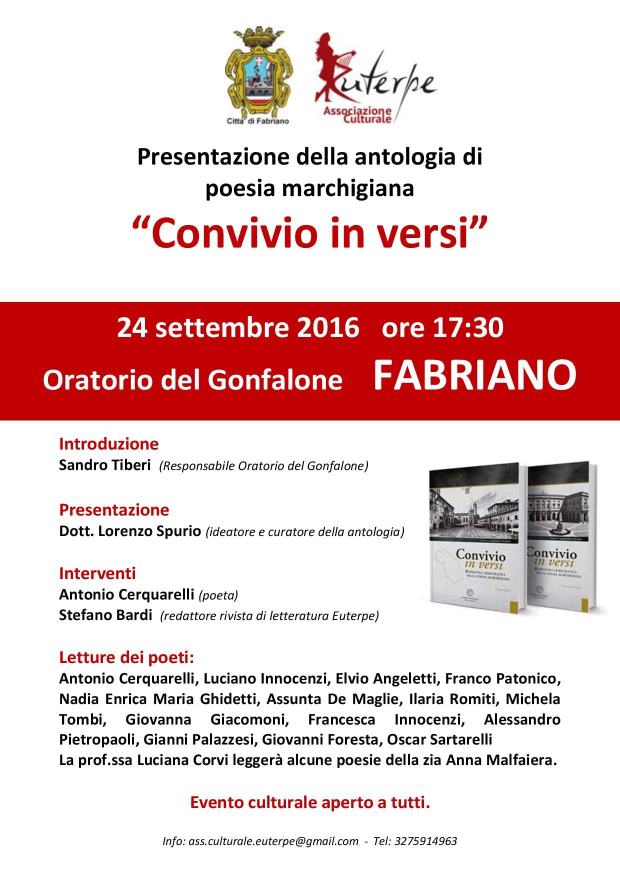 I poeti marchigiani a Fabriano il 24 settembre prossimo